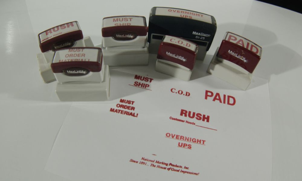 office supplies self inking stamps